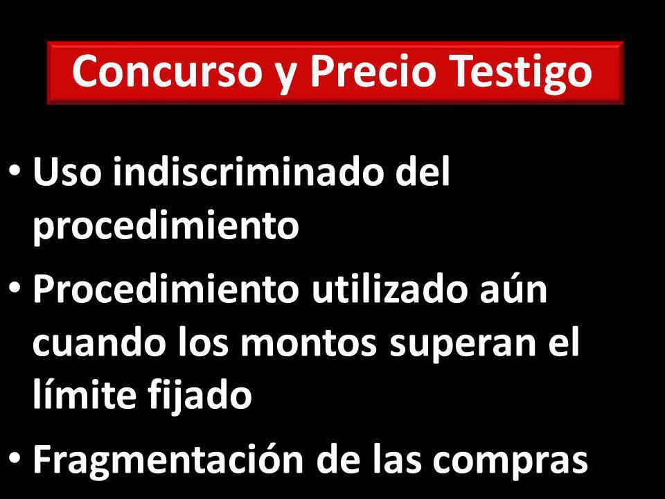 Concurso y Precio Testigo Uso indiscriminado del procedimiento Procedimiento utilizado aún cuando los montos superan el límite fijado Fragmentación de las compras