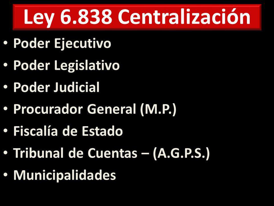 Ley 6.838 Centralización Poder Ejecutivo Poder Legislativo Poder Judicial Procurador General (M.P.) Fiscalía de Estado Tribunal de Cuentas – (A.G.P.S.) Municipalidades
