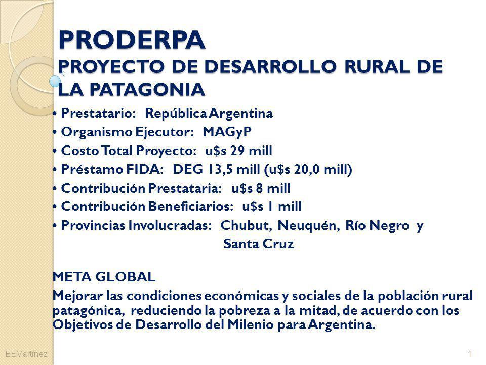 PRODERPA PROYECTO DE DESARROLLO RURAL DE LA PATAGONIA Prestatario: República Argentina Organismo Ejecutor: MAGyP Costo Total Proyecto: u$s 29 mill Pré