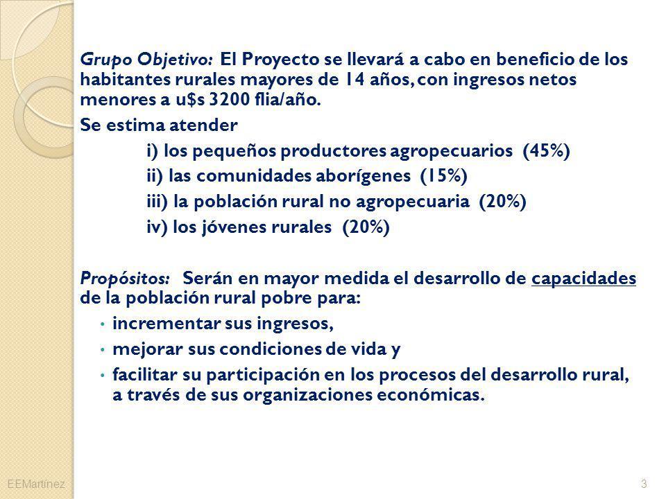 Grupo Objetivo: El Proyecto se llevará a cabo en beneficio de los habitantes rurales mayores de 14 años, con ingresos netos menores a u$s 3200 flia/añ