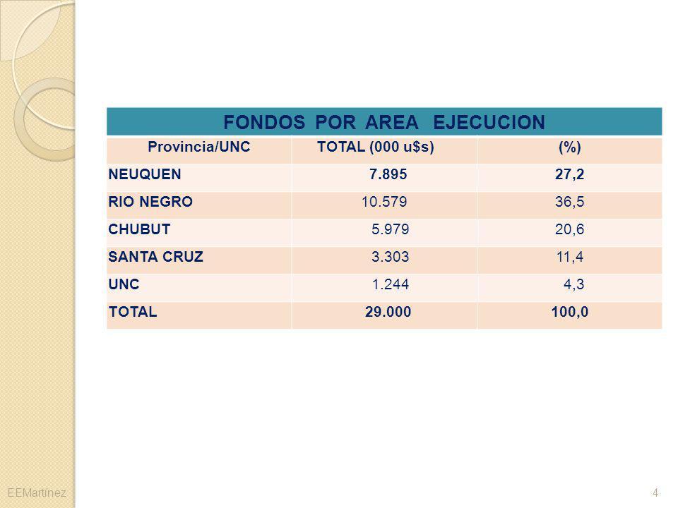 FONDOS POR AREA EJECUCION Provincia/UNCTOTAL (000 u$s)(%) NEUQUEN 7.89527,2 RIO NEGRO10.57936,5 CHUBUT 5.97920,6 SANTA CRUZ 3.30311,4 UNC 1.244 4,3 TO