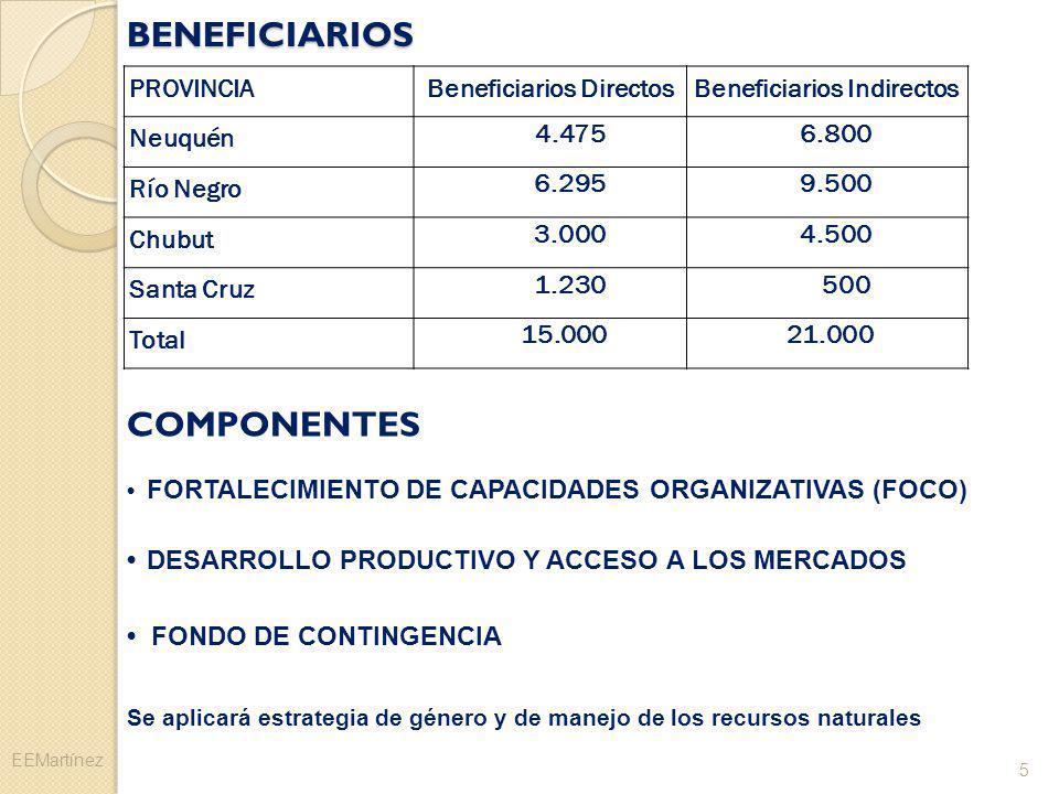 BENEFICIARIOS PROVINCIABeneficiarios DirectosBeneficiarios Indirectos Neuquén 4.475 6.800 Río Negro 6.2959.500 Chubut 3.0004.500 Santa Cruz 1.230 500