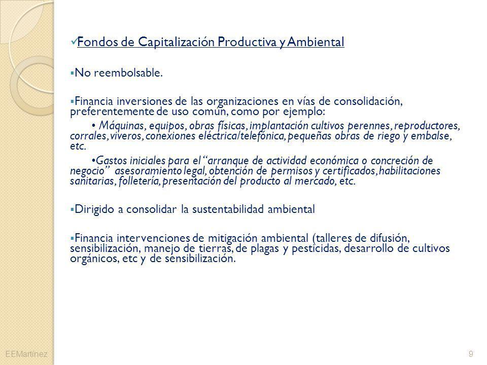 Fondos de Capitalización Productiva y Ambiental No reembolsable. Financia inversiones de las organizaciones en vías de consolidación, preferentemente