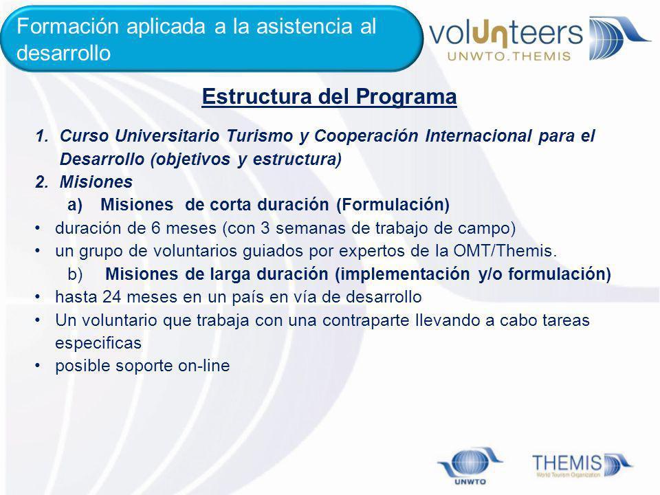 1.Curso Universitario Turismo y Cooperación Internacional para el Desarrollo (objetivos y estructura) 2.Misiones a)Misiones de corta duración (Formula