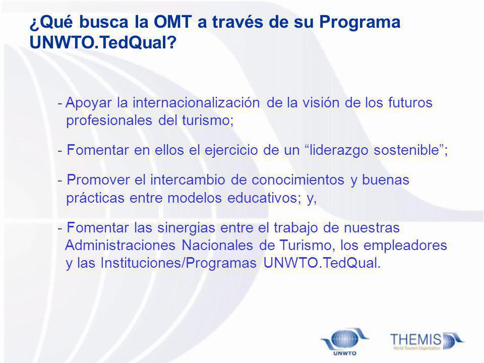 ¿Qué busca la OMT a través de su Programa UNWTO.TedQual? - Apoyar la internacionalización de la visión de los futuros profesionales del turismo; - Fom
