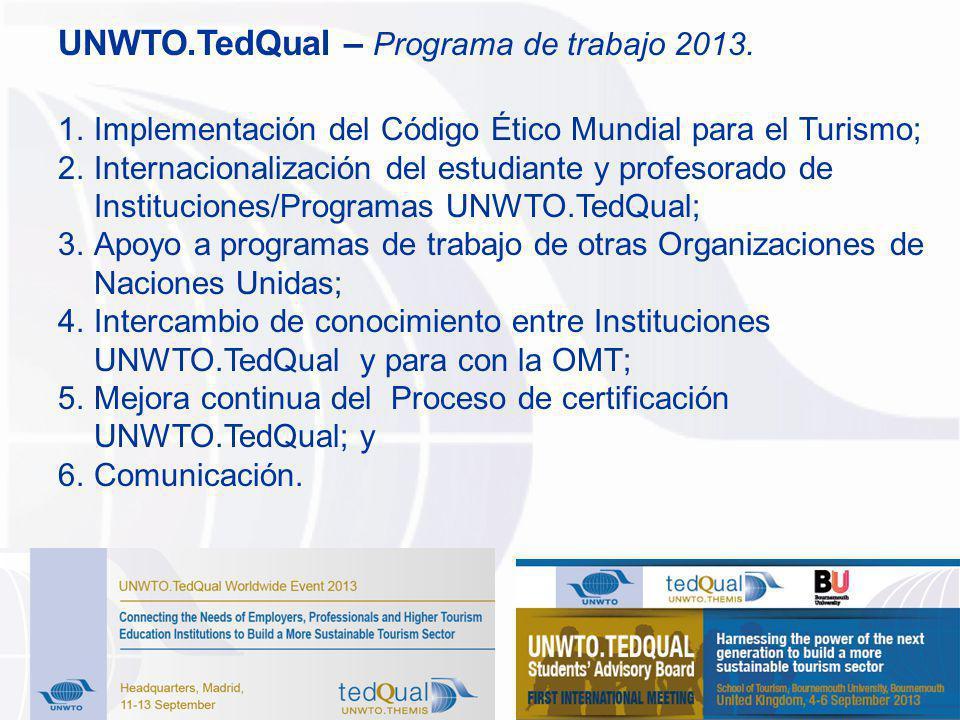 1.Implementación del Código Ético Mundial para el Turismo; 2.Internacionalización del estudiante y profesorado de Instituciones/Programas UNWTO.TedQua