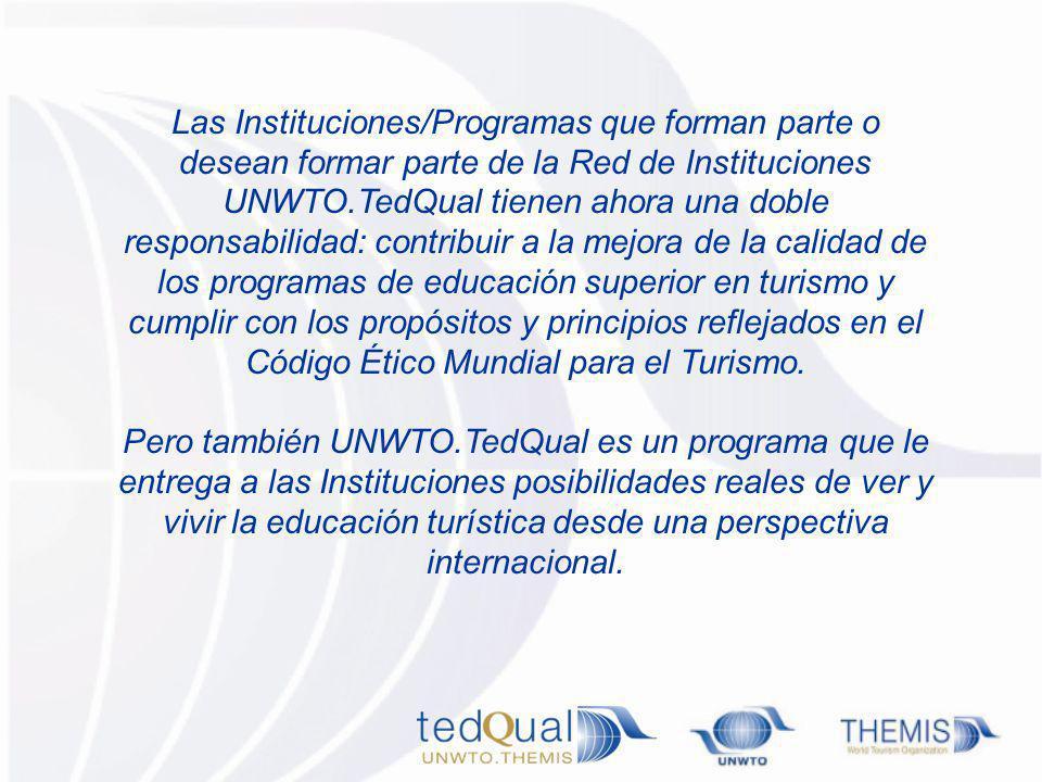 Las Instituciones/Programas que forman parte o desean formar parte de la Red de Instituciones UNWTO.TedQual tienen ahora una doble responsabilidad: co