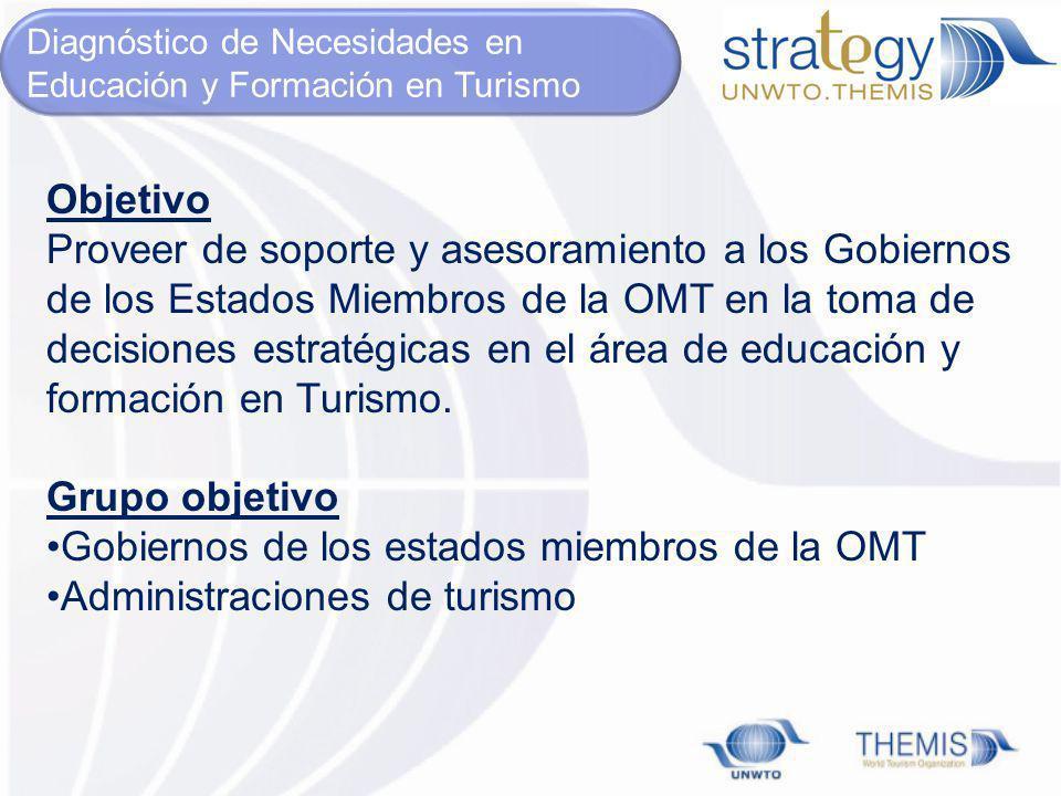 Objetivo Proveer de soporte y asesoramiento a los Gobiernos de los Estados Miembros de la OMT en la toma de decisiones estratégicas en el área de educ