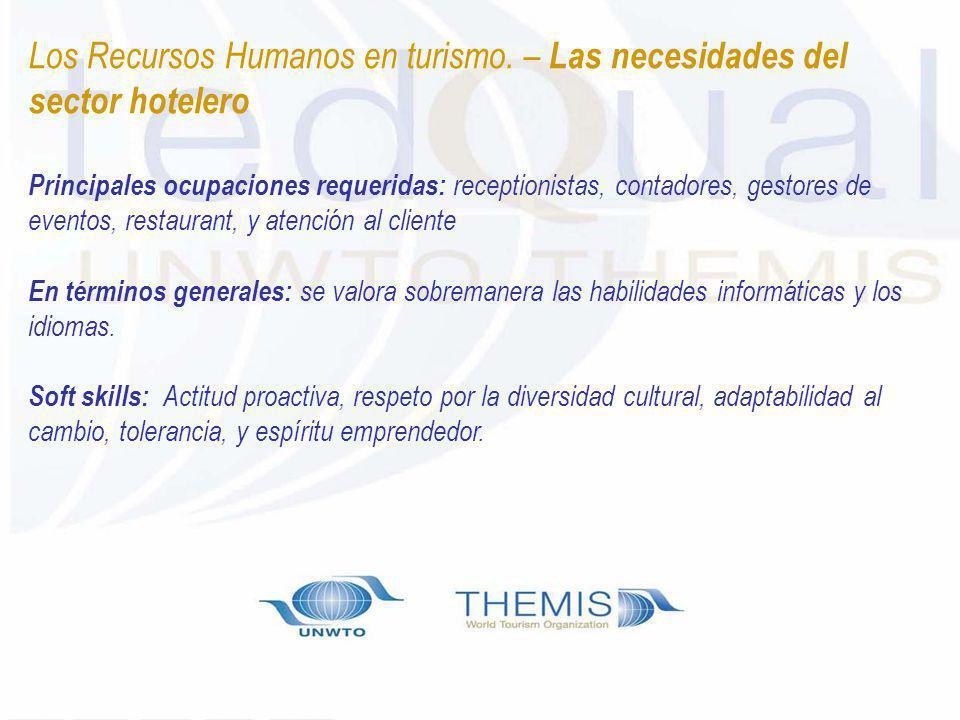 Los Recursos Humanos en turismo. – Las necesidades del sector hotelero Principales ocupaciones requeridas: receptionistas, contadores, gestores de eve