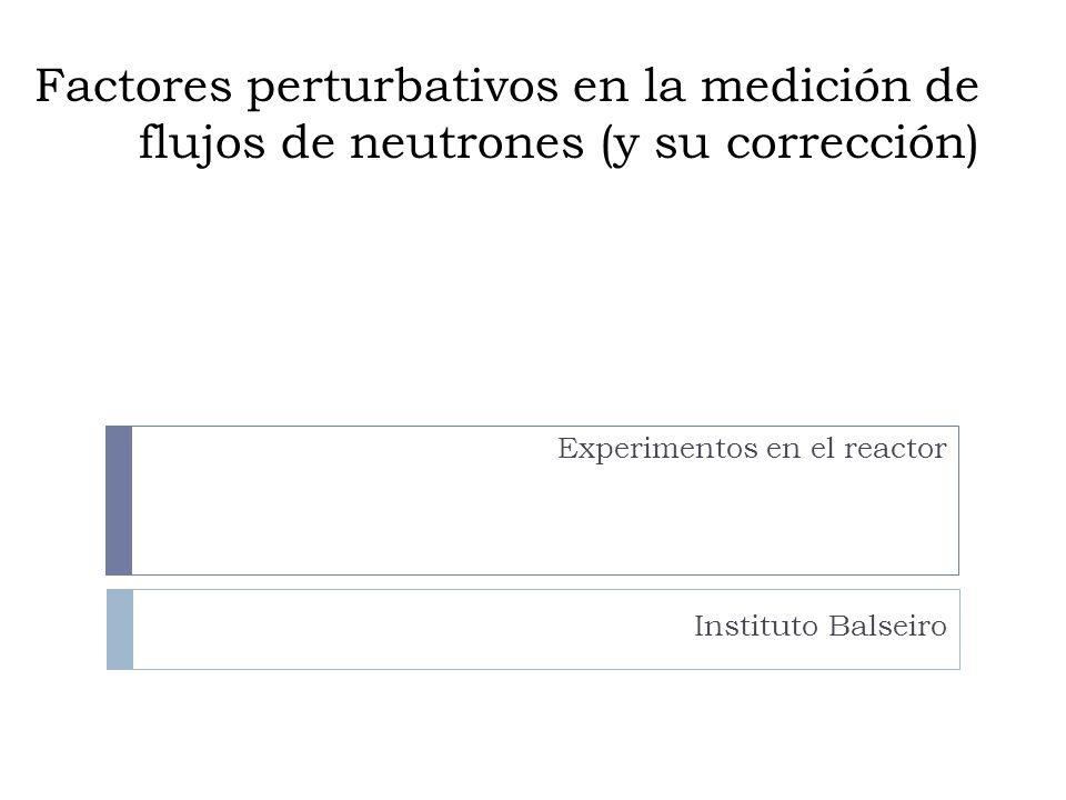 Factores perturbativos en la medición de flujos de neutrones (y su corrección) Experimentos en el reactor Instituto Balseiro