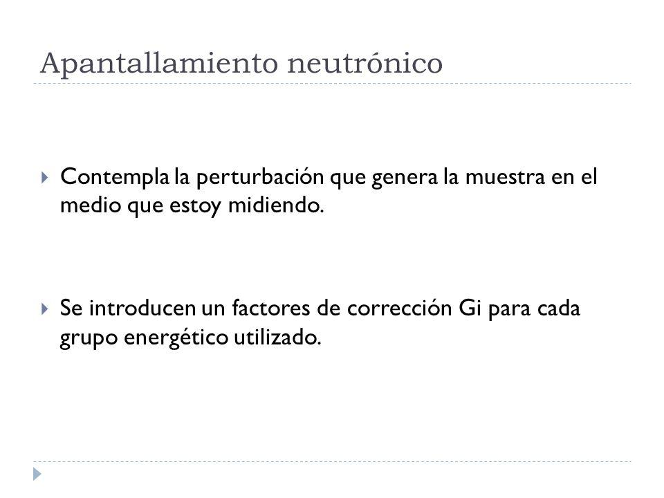 Apantallamiento neutrónico Contempla la perturbación que genera la muestra en el medio que estoy midiendo.