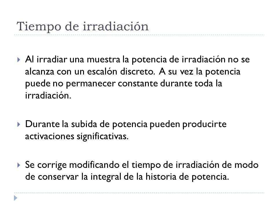 Tiempo de irradiación Al irradiar una muestra la potencia de irradiación no se alcanza con un escalón discreto.
