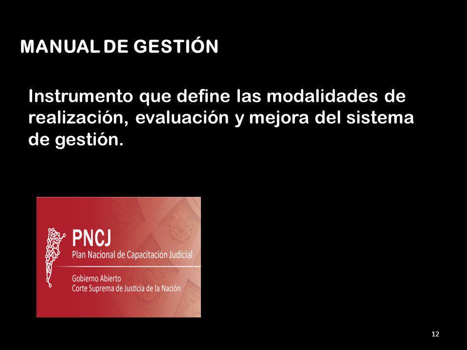 Instrumento que define las modalidades de realización, evaluación y mejora del sistema de gestión.