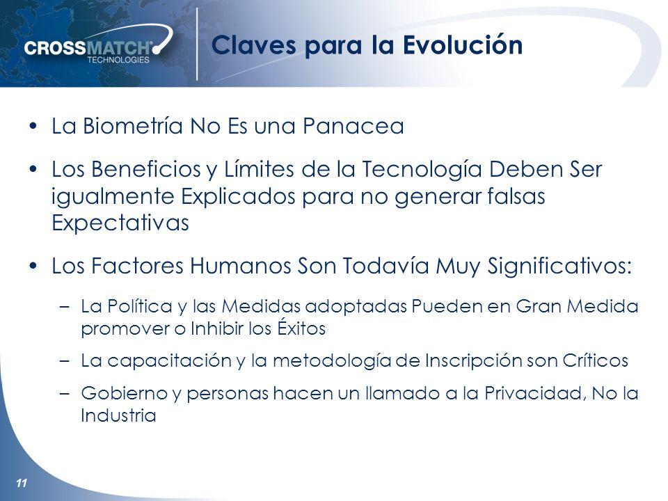 11 Claves para la Evolución La Biometría No Es una Panacea Los Beneficios y Límites de la Tecnología Deben Ser igualmente Explicados para no generar f