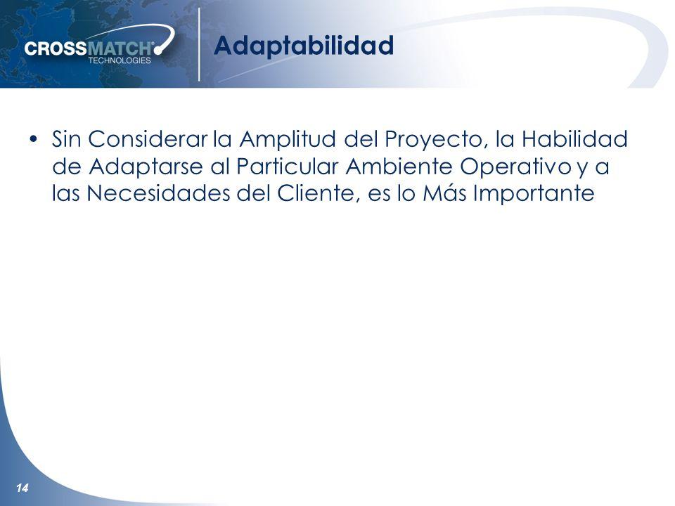 14 Adaptabilidad Sin Considerar la Amplitud del Proyecto, la Habilidad de Adaptarse al Particular Ambiente Operativo y a las Necesidades del Cliente, es lo Más Importante