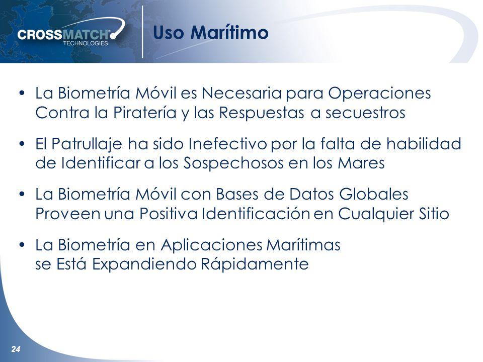 24 Uso Marítimo La Biometría Móvil es Necesaria para Operaciones Contra la Piratería y las Respuestas a secuestros El Patrullaje ha sido Inefectivo po
