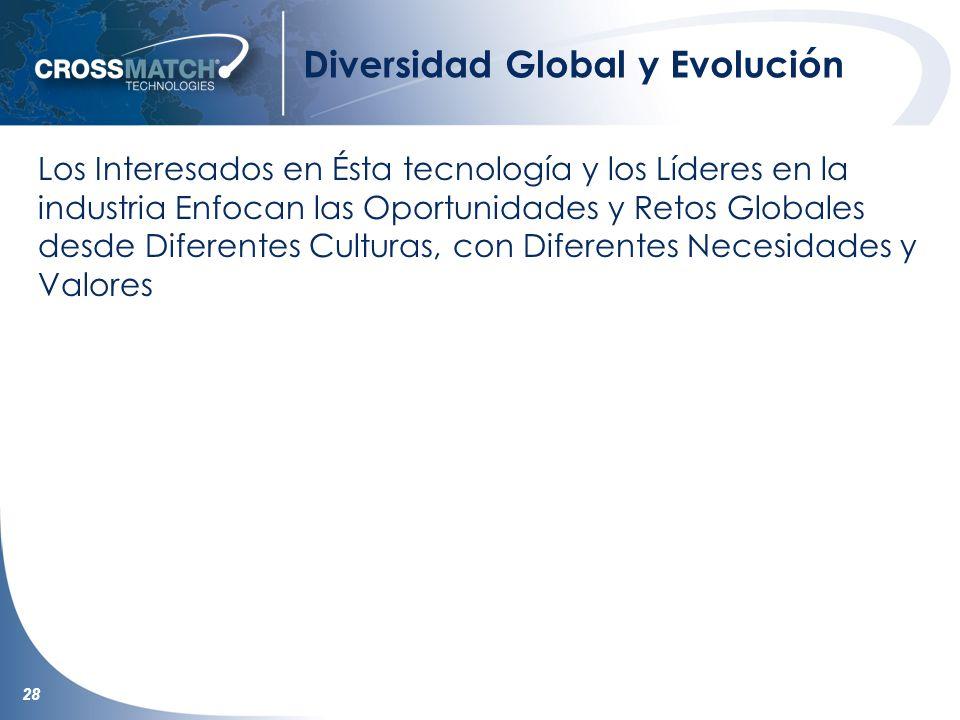 28 Diversidad Global y Evolución Los Interesados en Ésta tecnología y los Líderes en la industria Enfocan las Oportunidades y Retos Globales desde Diferentes Culturas, con Diferentes Necesidades y Valores