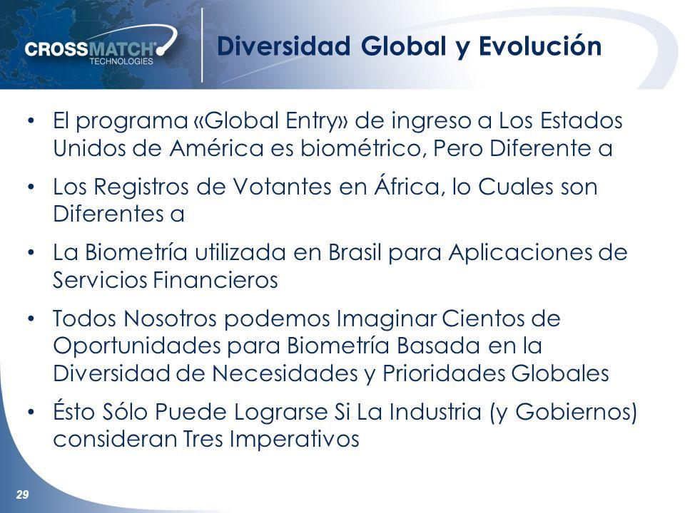 29 Diversidad Global y Evolución El programa «Global Entry» de ingreso a Los Estados Unidos de América es biométrico, Pero Diferente a Los Registros d