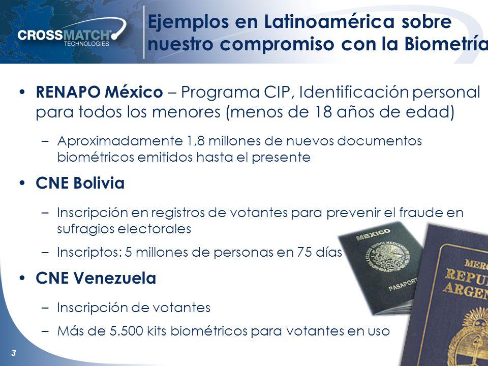 3 Ejemplos en Latinoamérica sobre nuestro compromiso con la Biometría RENAPO México – Programa CIP, Identificación personal para todos los menores (menos de 18 años de edad) –Aproximadamente 1,8 millones de nuevos documentos biométricos emitidos hasta el presente CNE Bolivia –Inscripción en registros de votantes para prevenir el fraude en sufragios electorales –Inscriptos: 5 millones de personas en 75 días CNE Venezuela –Inscripción de votantes –Más de 5.500 kits biométricos para votantes en uso