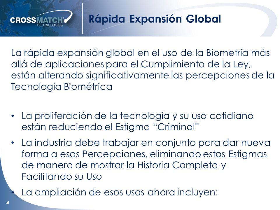 4 Rápida Expansión Global La rápida expansión global en el uso de la Biometría más allá de aplicaciones para el Cumplimiento de la Ley, están alterand