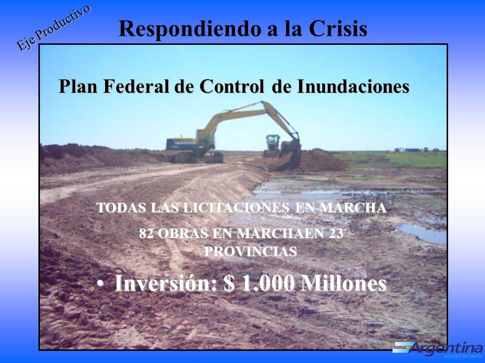 Respondiendo a la Crisis Plan Federal de Control de Inundaciones Eje Productivo TODAS LAS LICITACIONES EN MARCHA 82 OBRAS EN MARCHAEN 23 PROVINCIAS Inversión: $ 1.000 Millones