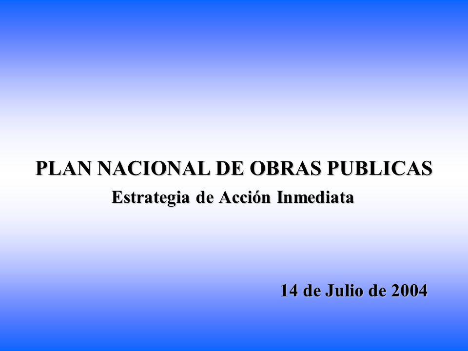 PLAN NACIONAL DE OBRAS PUBLICAS Estrategia de Acción Inmediata 14 de Julio de 2004