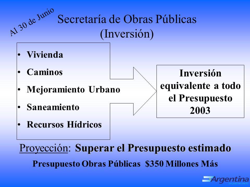 A l 3 0 d e J u n i o Secretaría de Obras Públicas (Inversión) Vivienda Caminos Mejoramiento Urbano Saneamiento Recursos Hídricos Inversión equivalente a todo el Presupuesto 2003 Superar el Presupuesto estimado Proyección: Superar el Presupuesto estimado Presupuesto Obras Públicas $350 Millones Más