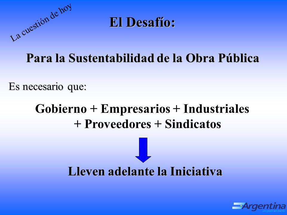 El Desafío: Para la Sustentabilidad de la Obra Pública La cuestión de hoy Lleven adelante la Iniciativa Es necesario que: Gobierno + Empresarios + Industriales + Proveedores + Sindicatos