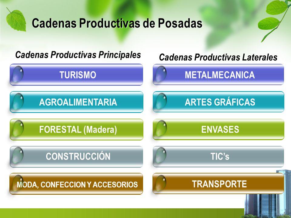 Cadenas Productivas de Posadas CONSTRUCCIÓN FORESTAL (Madera) AGROALIMENTARIATURISMO Cadenas Productivas Principales MODA, CONFECCION Y ACCESORIOS TICs ENVASES ARTES GRÁFICASMETALMECANICA Cadenas Productivas Laterales TRANSPORTE