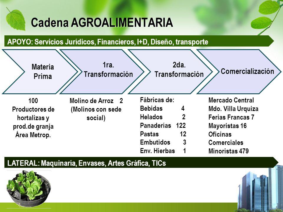 Cadena AGROALIMENTARIA Materia Prima 1ra. Transformación 2da. Transformación Comercialización Molino de Arroz 2 (Molinos con sede social) Fábricas de: