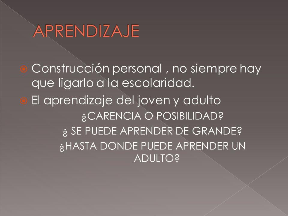 Construcción personal, no siempre hay que ligarlo a la escolaridad. El aprendizaje del joven y adulto ¿CARENCIA O POSIBILIDAD? ¿ SE PUEDE APRENDER DE