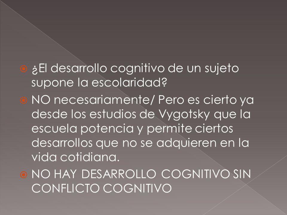 ¿El desarrollo cognitivo de un sujeto supone la escolaridad? NO necesariamente/ Pero es cierto ya desde los estudios de Vygotsky que la escuela potenc