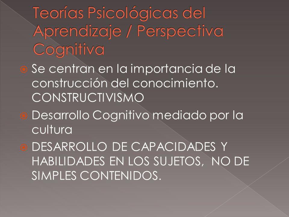 Se centran en la importancia de la construcción del conocimiento. CONSTRUCTIVISMO Desarrollo Cognitivo mediado por la cultura DESARROLLO DE CAPACIDADE