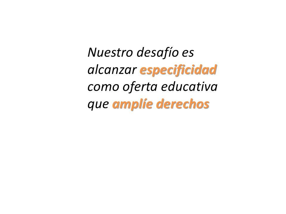 Nuestro desafío es especificidad alcanzar especificidad como oferta educativa amplíe derechos que amplíe derechos