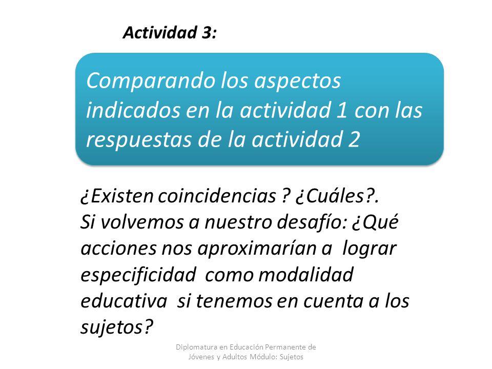 Diplomatura en Educación Permanente de Jóvenes y Adultos Módulo: Sujetos Comparando los aspectos indicados en la actividad 1 con las respuestas de la