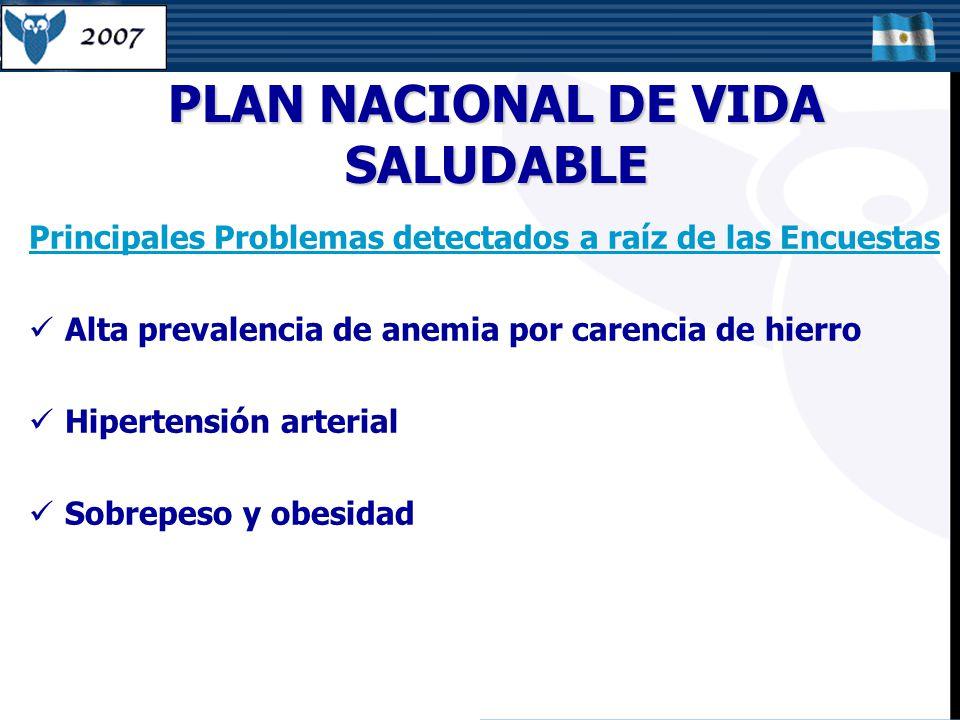 Principales Problemas detectados a raíz de las Encuestas Alta prevalencia de anemia por carencia de hierro Hipertensión arterial Sobrepeso y obesidad PLAN NACIONAL DE VIDA SALUDABLE