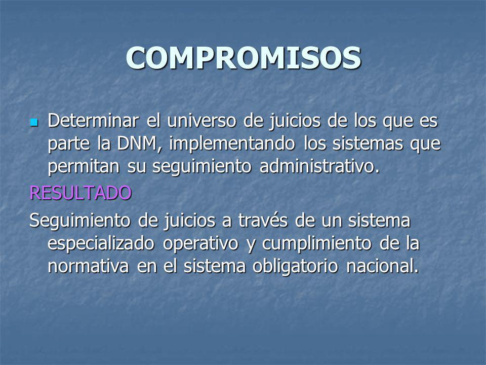COMPROMISOS Determinar el universo de juicios de los que es parte la DNM, implementando los sistemas que permitan su seguimiento administrativo. Deter