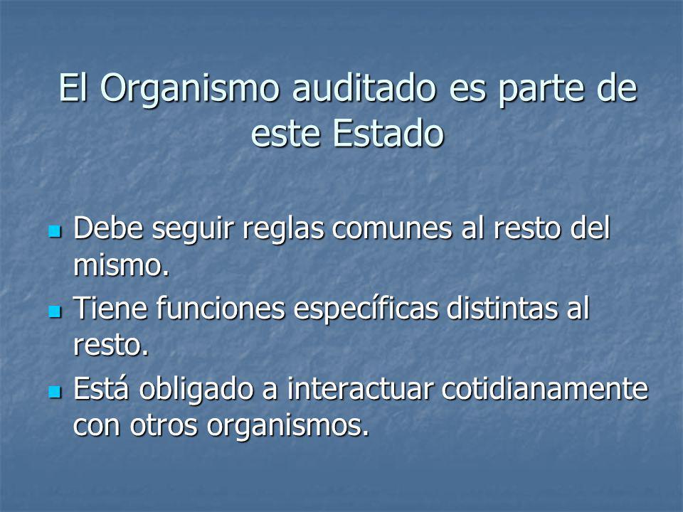 El Organismo auditado es parte de este Estado Debe seguir reglas comunes al resto del mismo. Debe seguir reglas comunes al resto del mismo. Tiene func