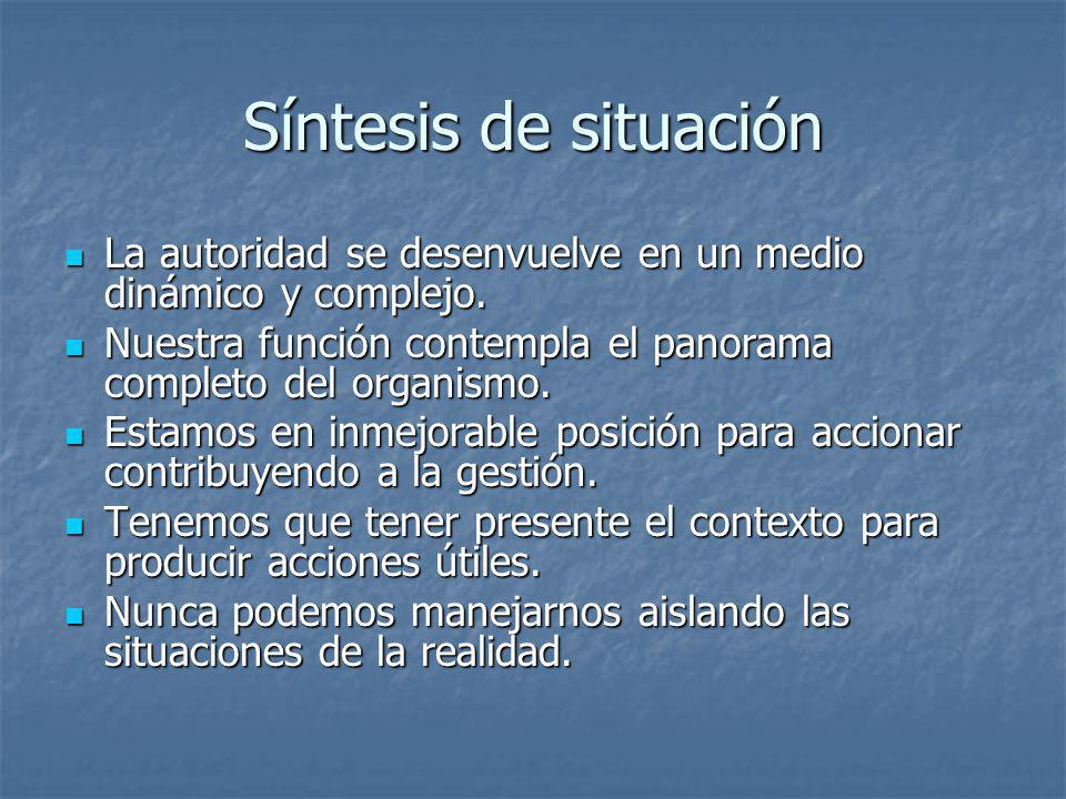 Síntesis de situación La autoridad se desenvuelve en un medio dinámico y complejo. La autoridad se desenvuelve en un medio dinámico y complejo. Nuestr