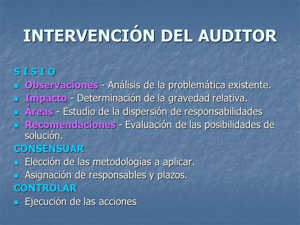 INTERVENCIÓN DEL AUDITOR S I S I O Observaciones - Análisis de la problemática existente. Observaciones - Análisis de la problemática existente. Impac