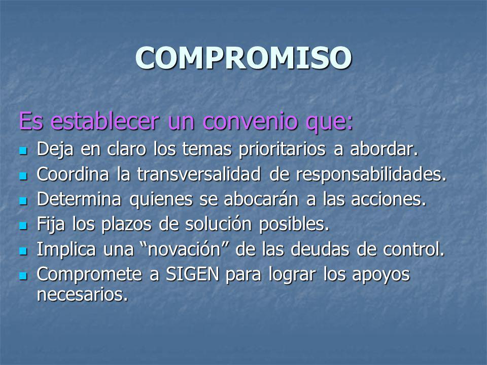 COMPROMISO Es establecer un convenio que: Deja en claro los temas prioritarios a abordar. Deja en claro los temas prioritarios a abordar. Coordina la