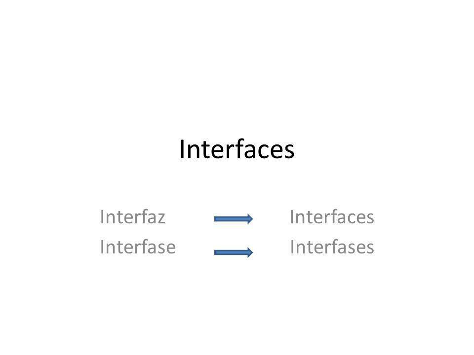Interfaces Interfaz Interfaces Interfase Interfases