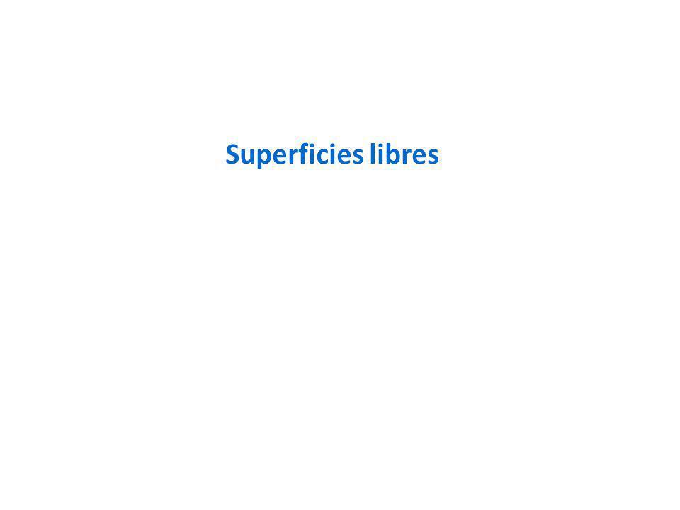 fcc: 12 primeros vecinos para el sólido Superficie (111): pierde 3 vecinos Superficie (100): pierde 4 vecinos