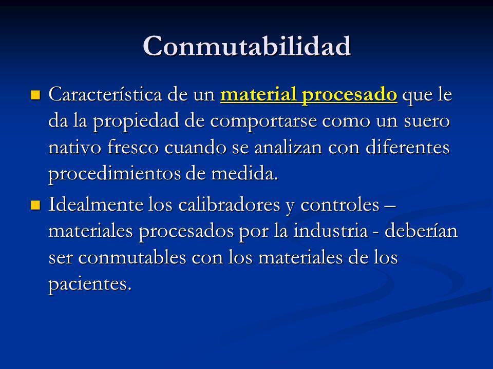 Conmutabilidad Característica de un material procesado que le da la propiedad de comportarse como un suero nativo fresco cuando se analizan con difere