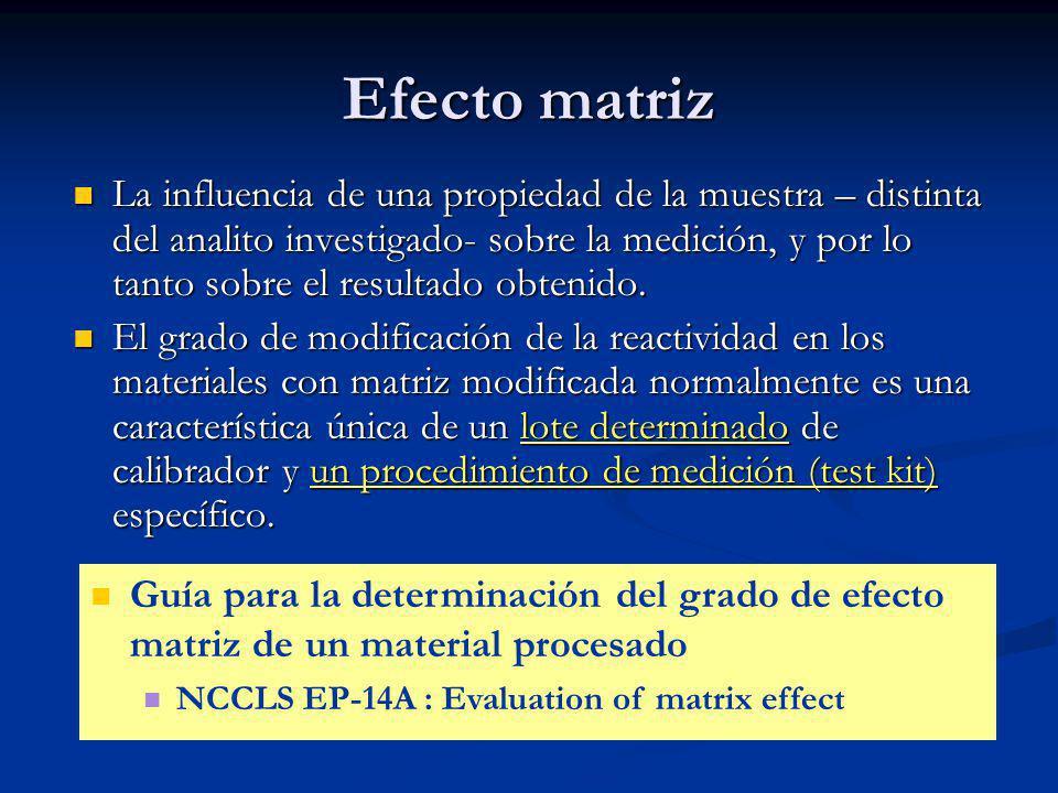 Efecto matriz La influencia de una propiedad de la muestra – distinta del analito investigado- sobre la medición, y por lo tanto sobre el resultado ob