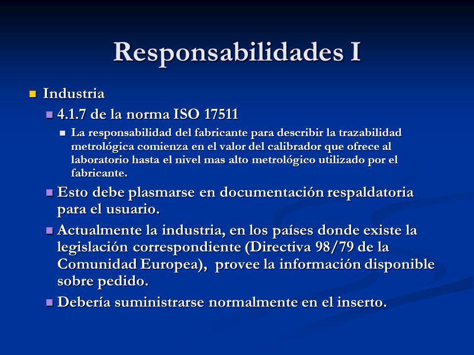 Responsabilidades I Industria Industria 4.1.7 de la norma ISO 17511 4.1.7 de la norma ISO 17511 La responsabilidad del fabricante para describir la tr