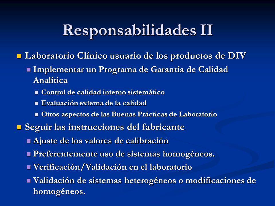 Responsabilidades II Laboratorio Clínico usuario de los productos de DIV Laboratorio Clínico usuario de los productos de DIV Implementar un Programa d