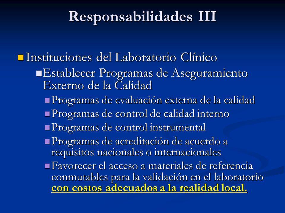 Responsabilidades III Instituciones del Laboratorio Clínico Instituciones del Laboratorio Clínico Establecer Programas de Aseguramiento Externo de la
