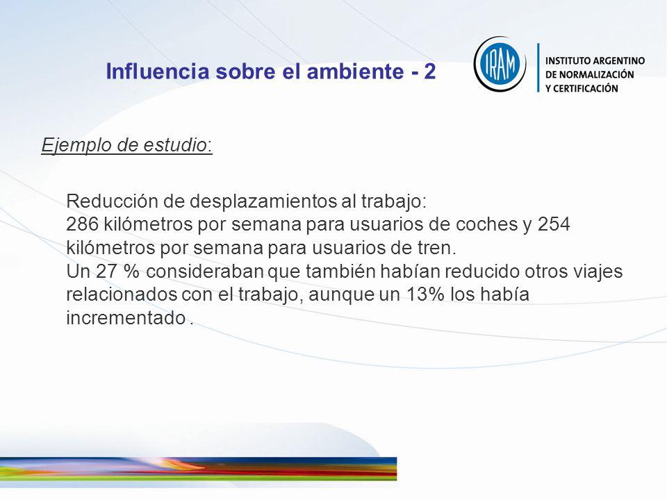 Influencia sobre el ambiente - 2 Ejemplo de estudio: Reducción de desplazamientos al trabajo: 286 kilómetros por semana para usuarios de coches y 254