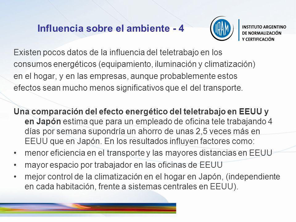 Influencia sobre el ambiente - 4 Existen pocos datos de la influencia del teletrabajo en los consumos energéticos (equipamiento, iluminación y climati